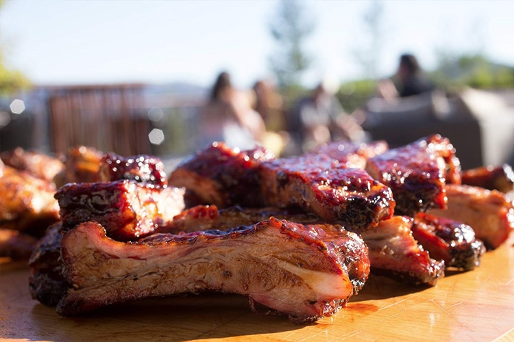 image of BBQ ribs prepared on the charcoal grill